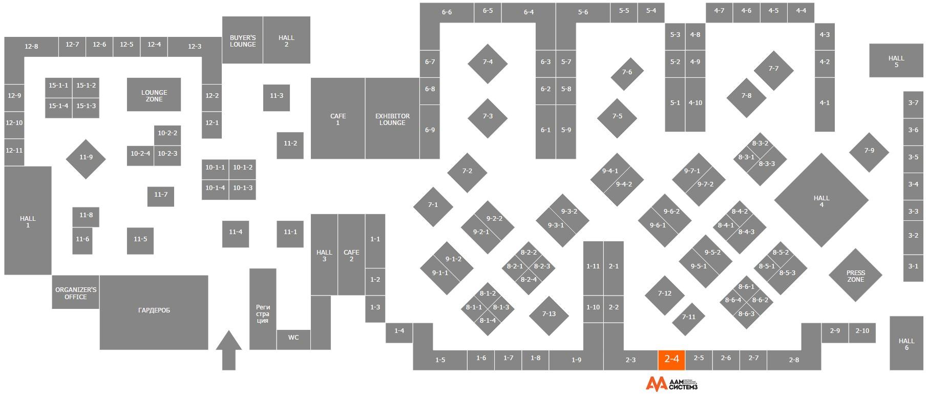 Схема павильона выставки All-over-IP 2014